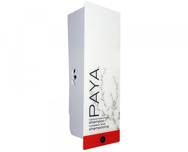 White paya shampoo dispenser with refillable cartridge
