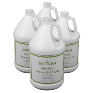 Four bottles of Natura Aloe Vera Shower Gel / Soap to be used in hotel dispensers.