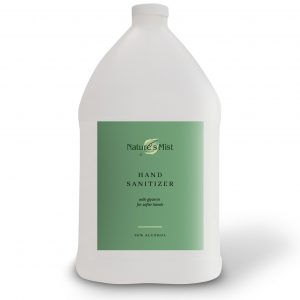 A gallon of Nature's Mist Hotel Hand Sanitizer liquid