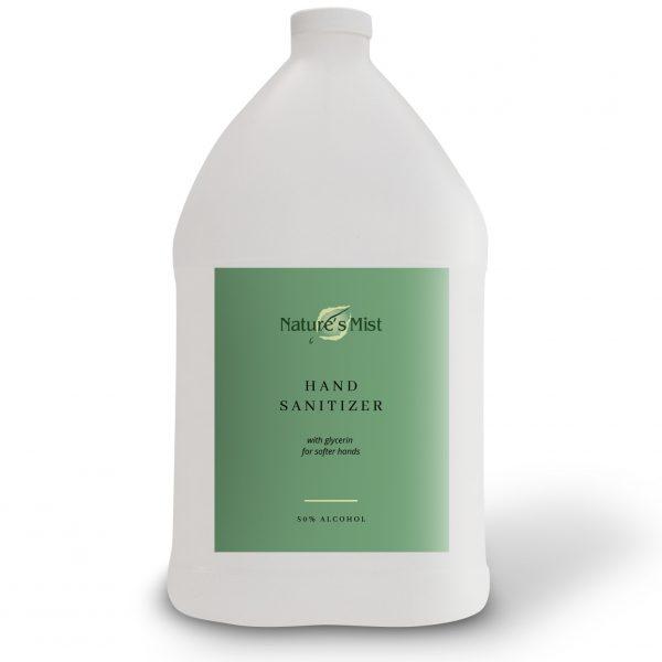 A gallon of Nature's Mist Hotel Hand Sanitizer liquid