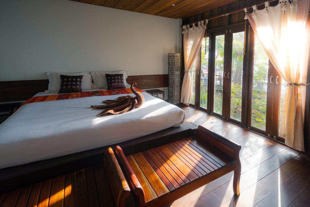 Beautiful hardwood hotel room
